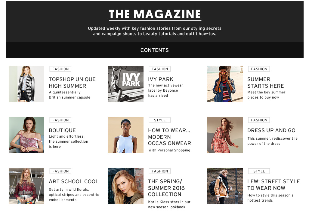 online magazine and shopping experience