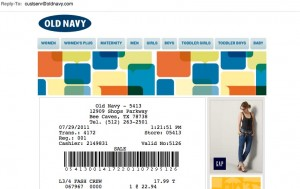 Old Navy Email Receipt