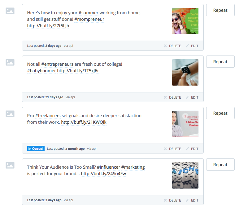 buffer analytics and library make it easy to share content with consistence