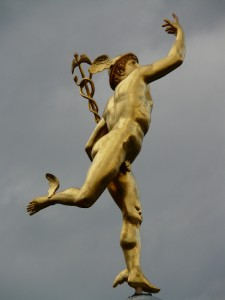 Mercury, with wings on his feet